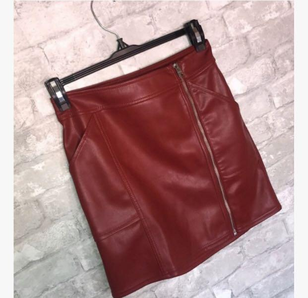 High-waisted Red Vegan Leather Skirt (Brand: EXPRESS)