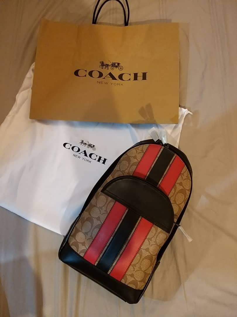 100% ORIGINAL COACH HOUSTON PACK IN SIGNATURE CANVAS WITH VARSITY STRIPE (COACH F85035)
