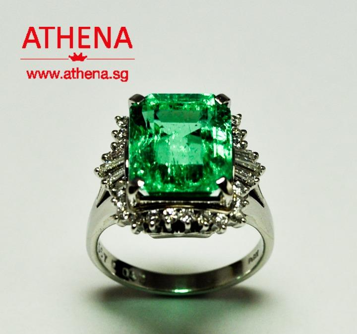 JW_SR_1656 JEWELLERY PT900 WG EMERALD ( FROM COLOMBIA ) RING WITH DIAMOND D24-0.25CTS TP6-0.10CTS 9.29G [ CERT. ]