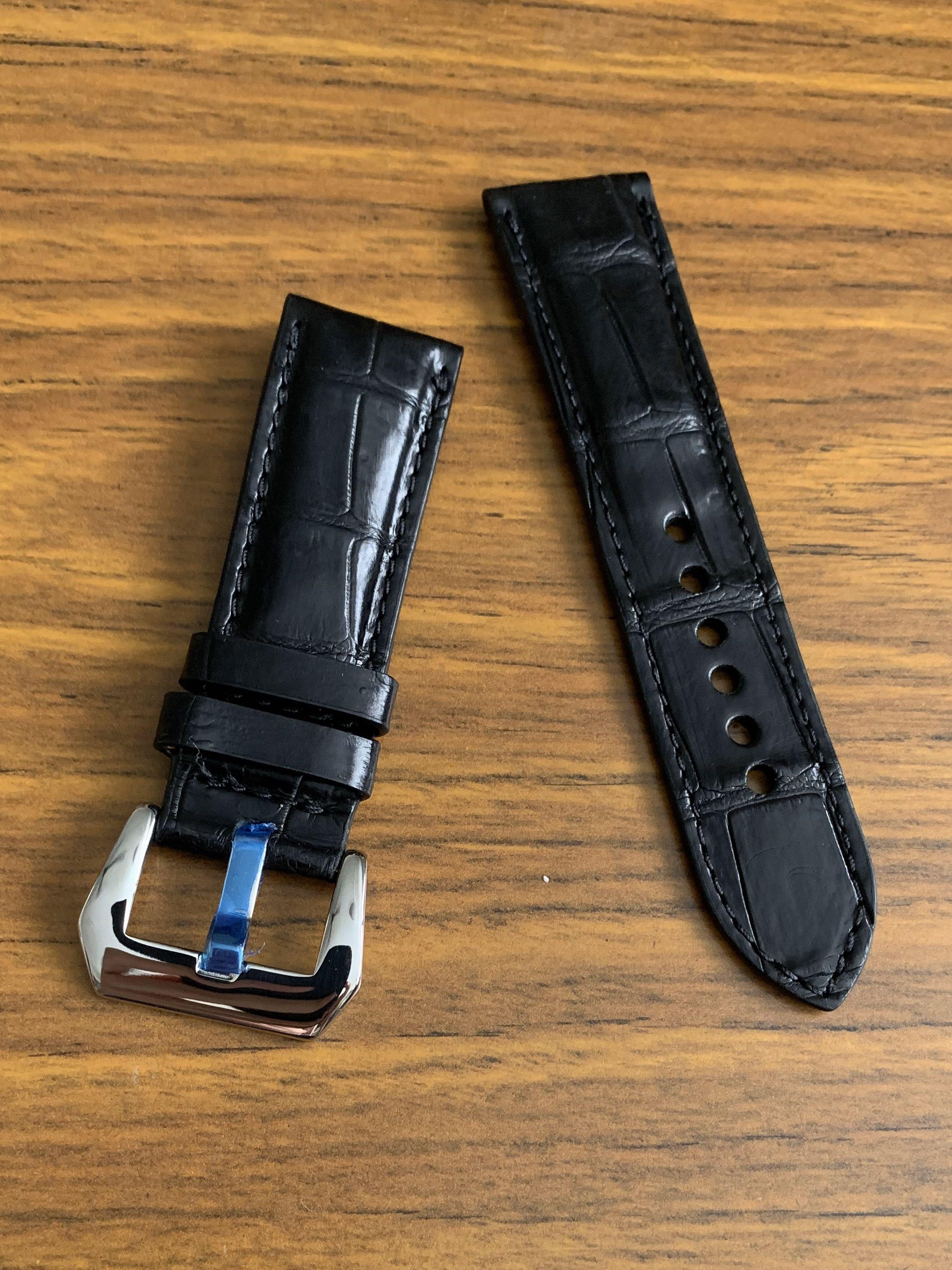 24mm/22mm Authentic Classic Ebony Black Crocodile 🐊 Alligator Watch Strap (Standard length: L-120mm, S-75mm) (only one piece, once sold no more! 😊👍🏻)