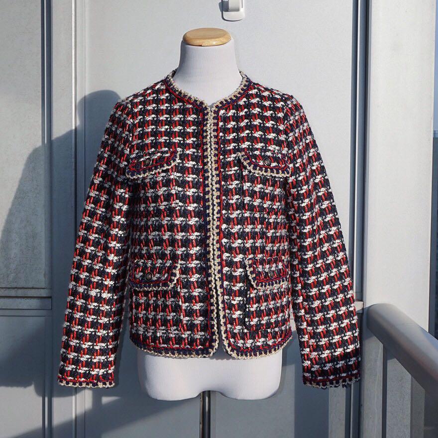 NWOT ZARA Red Blue Tweed Textured Weave Blazer Coat S
