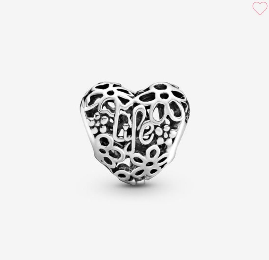 Openwork Spring Heart Pandora Charm - Love & Life Heart Charm