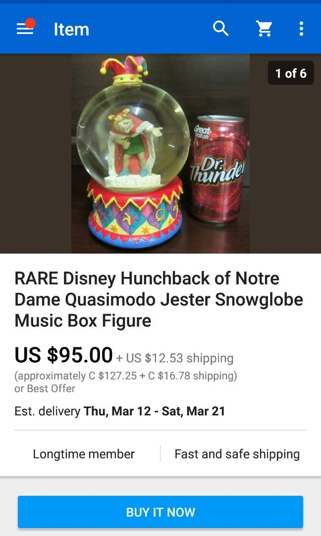 RARE Hunchback Of Notre Dame Snowglobe with Music Box