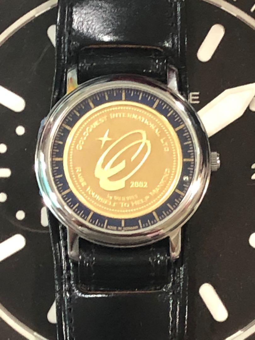 Rare Lacher/Goldquest (Germany) Swiss-Made 999.99% Pure Gold Coin Embedded Quartz-Bearing Driven Watch