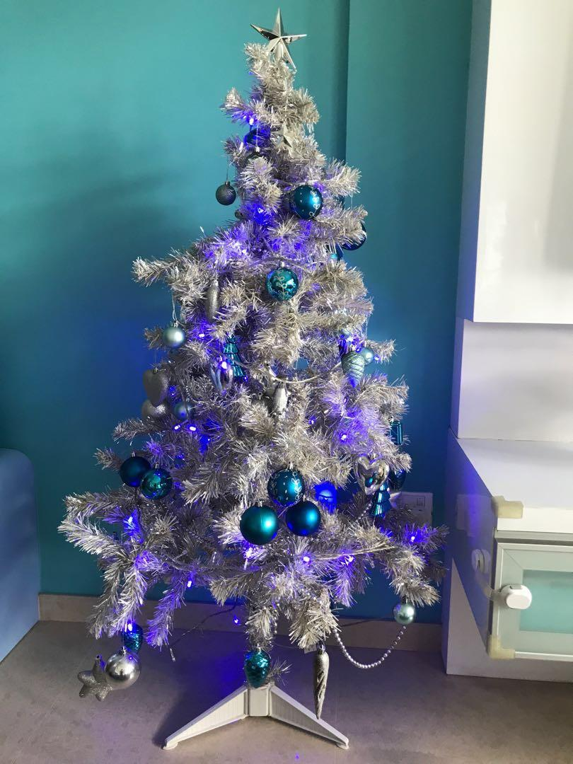Silver Blue Christmas Tree 1 35m Without Ornaments Furniture Home Decor Others On Carousell