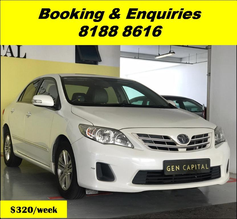 Toyota Altis HAPPY FRIDAY!!! JUST IN with the most Fuel Eficient & Spacious car. Cheapest rental in town with just $500 Deposit driveoff immediately. Whatsapp 8188 8616 now to reserve!