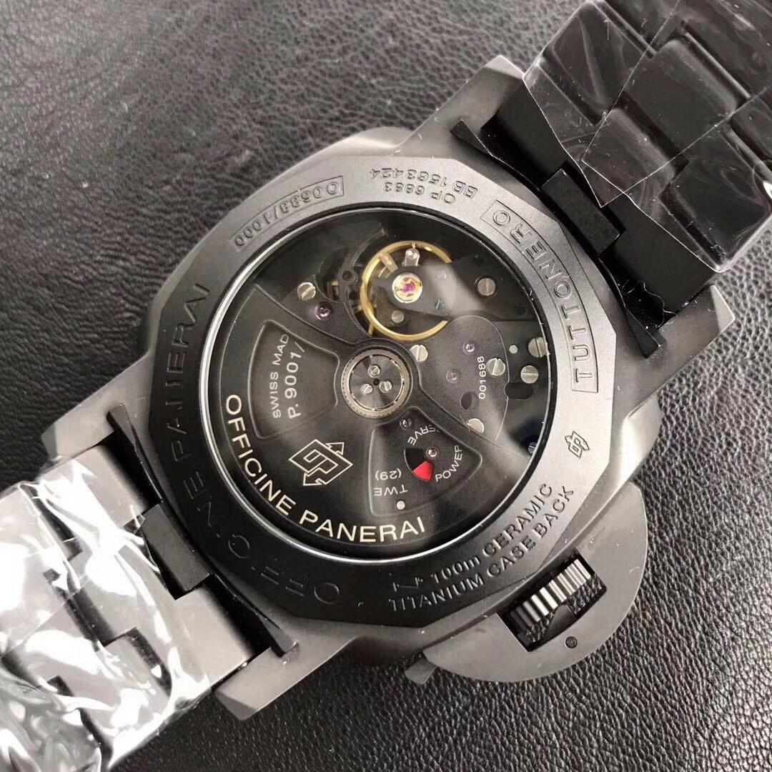 VS Factory V2 Panerai Tuttonero Luminor 1950 3 Days GMT PAM438 Ceramic Black Dial Swiss P9001