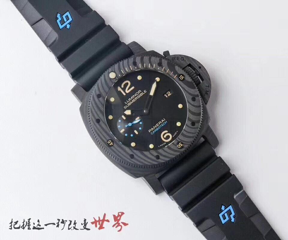 VS Factory V3 Panerai Luminor Submersible 1950 PAM616 Carbotech Black Dial Swiss P9000