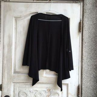 ㊕ 二手 韓製黑色素面不規則下擺罩衫 #FREE