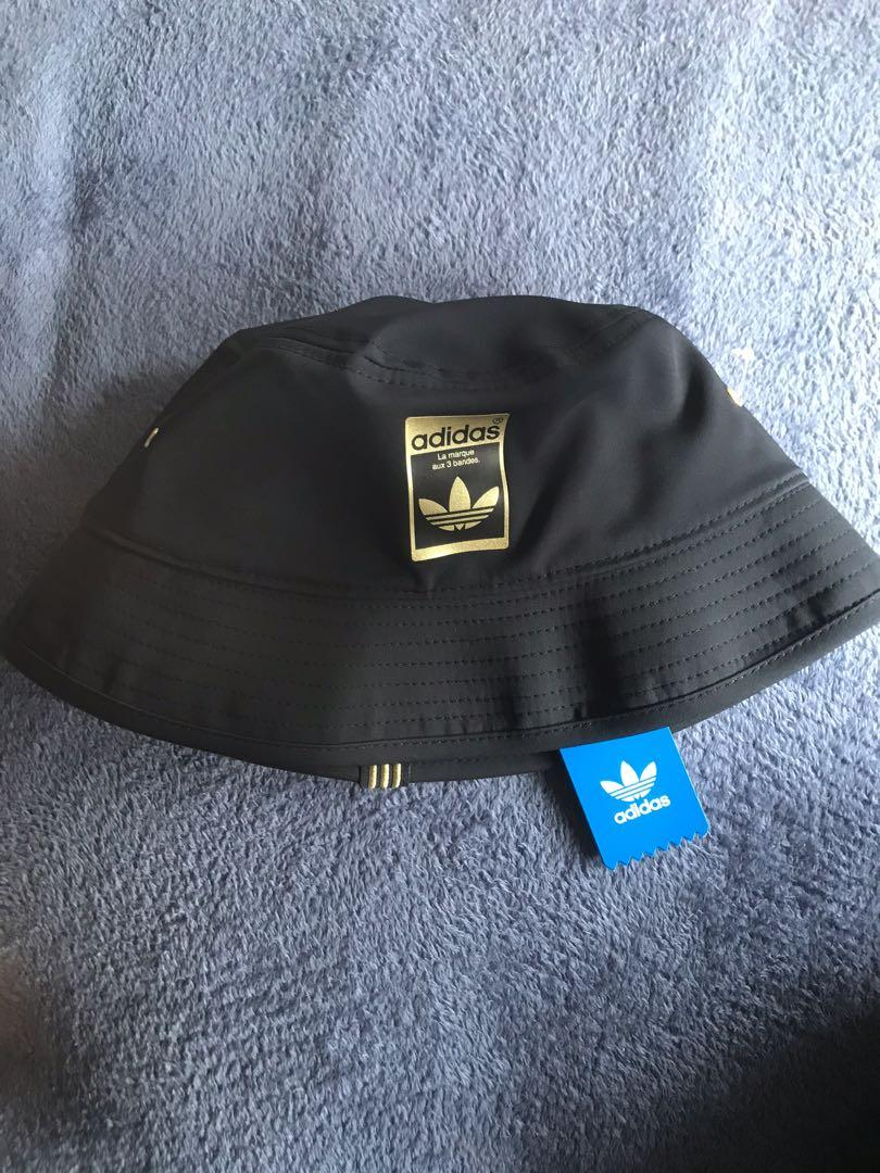 Adidas Bucket Hat Black Gold Men S Fashion Accessories Caps Hats On Carousell