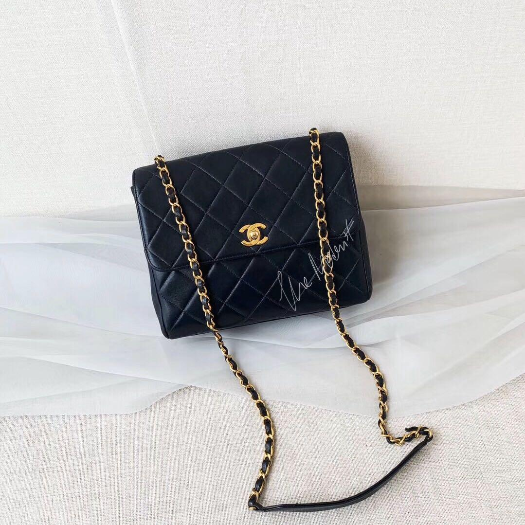 Authentic Chanel Vintage Square Mini Camera Bag Black Quilted Lambskin
