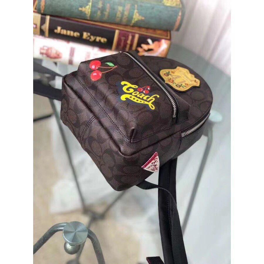 Authentic coach brown black mini Charlie signature backpack with patches