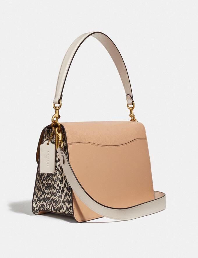 Authentic coach tabby shoulder Bag in colourblock with snakeskin detail