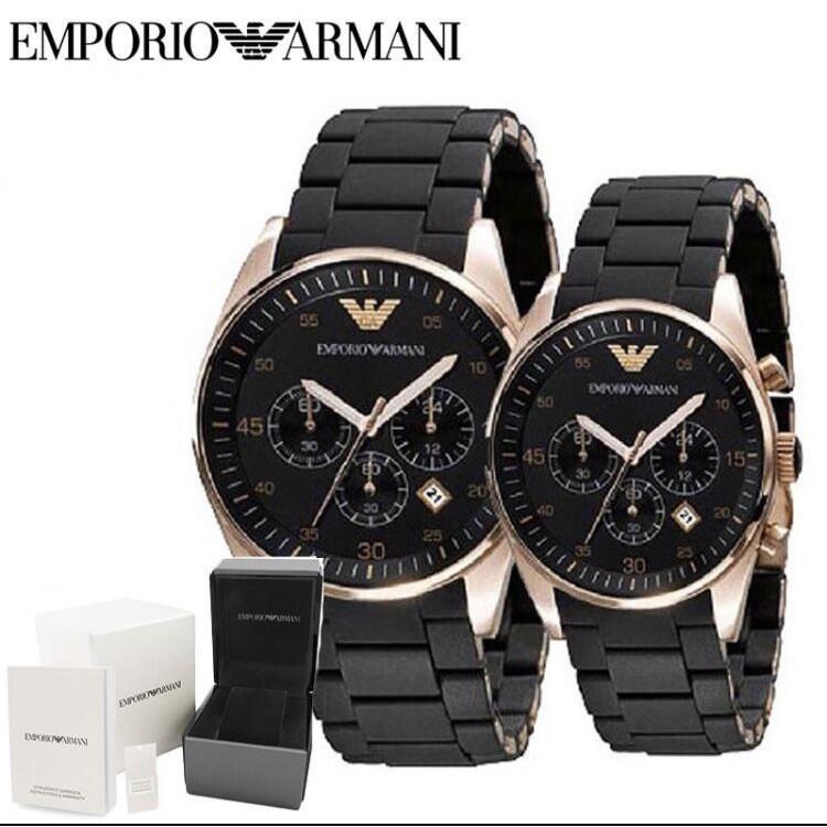 AUTHENTIC Emporio Armani AR5905 AR5906 Sportivo Chronograph Couple Men Women Watch