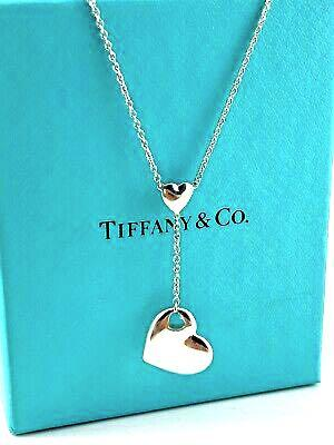 Authentic ffany & Co Sterling Silver Cut Out Love Heart Drop Lariat Necklace
