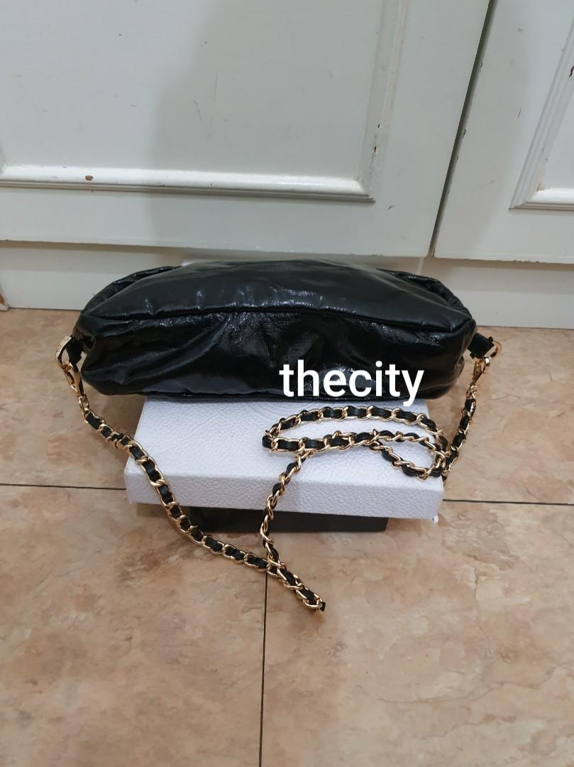 AUTHENTIC PRADA SHINY BLACK PATENT LEATHER POUCH BAG - GOLD HARDWARE - VERY CLEAN INTERIOR - OVERALL GOOD -  COMES WITH EXTRA ADD STRAP FOR CROSSBODY SLING