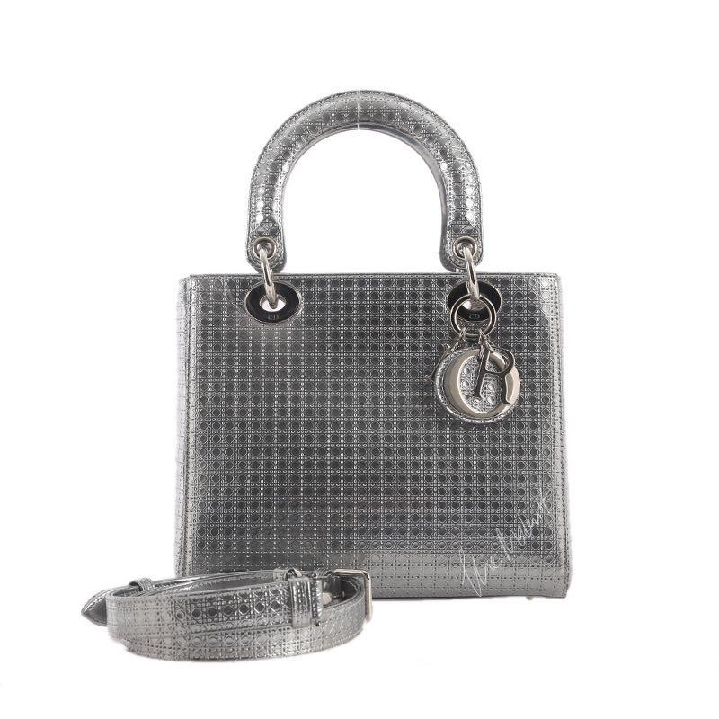 Authentic Pre-loved Christian Dior Lady Dior Cannage Micro Perforated Metallic Silver