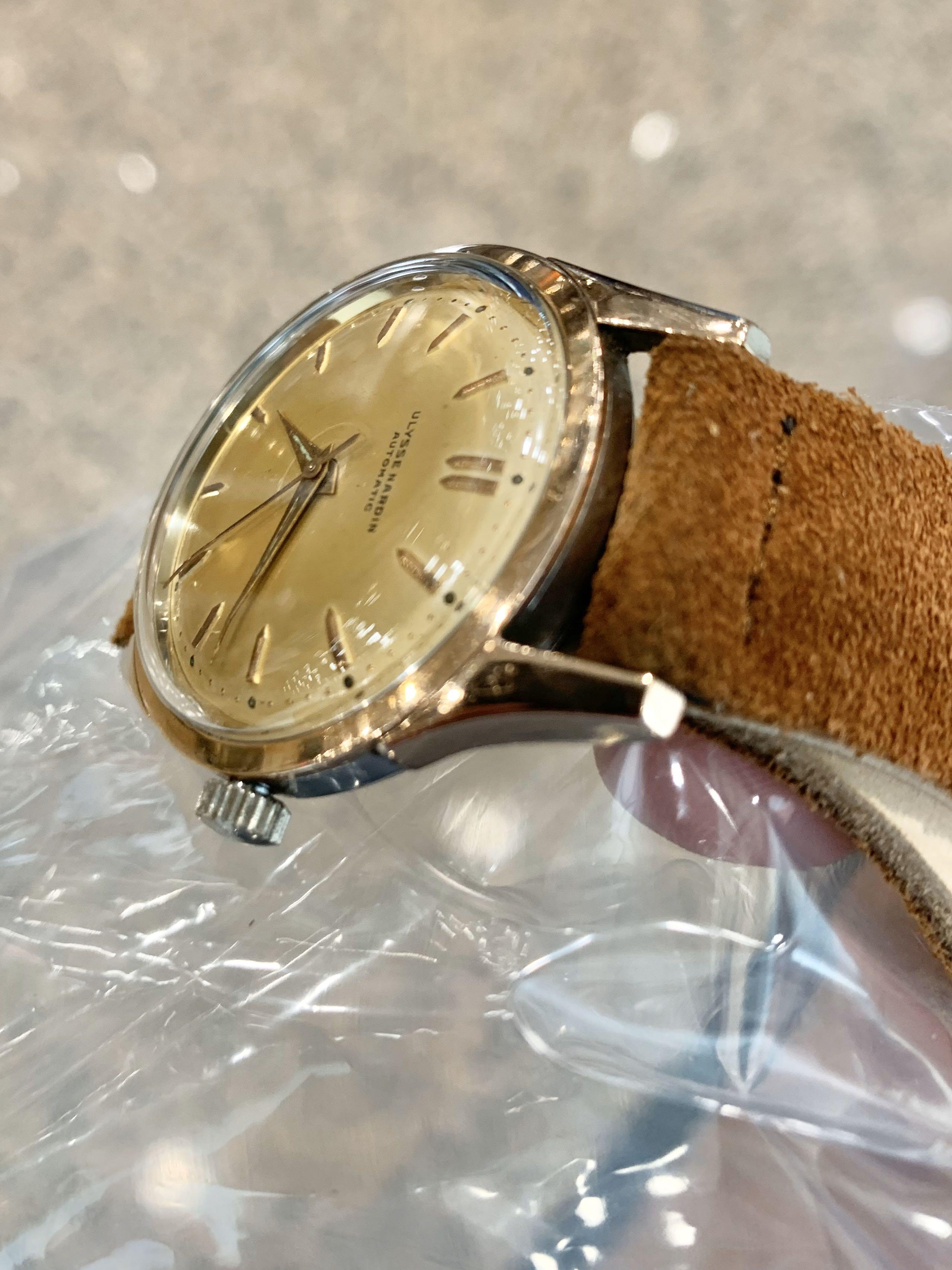 Authentic Ulysse Nardin Rose Gold Plated Lugs Stainless  Steel sides 36mm diameter Champagne Dial with box (good size for both ladies and men) (with original UN box, leather pouch, cloth, strap change tool, 5 straps, 2 RG buckles)(43mm lug-to-lug)
