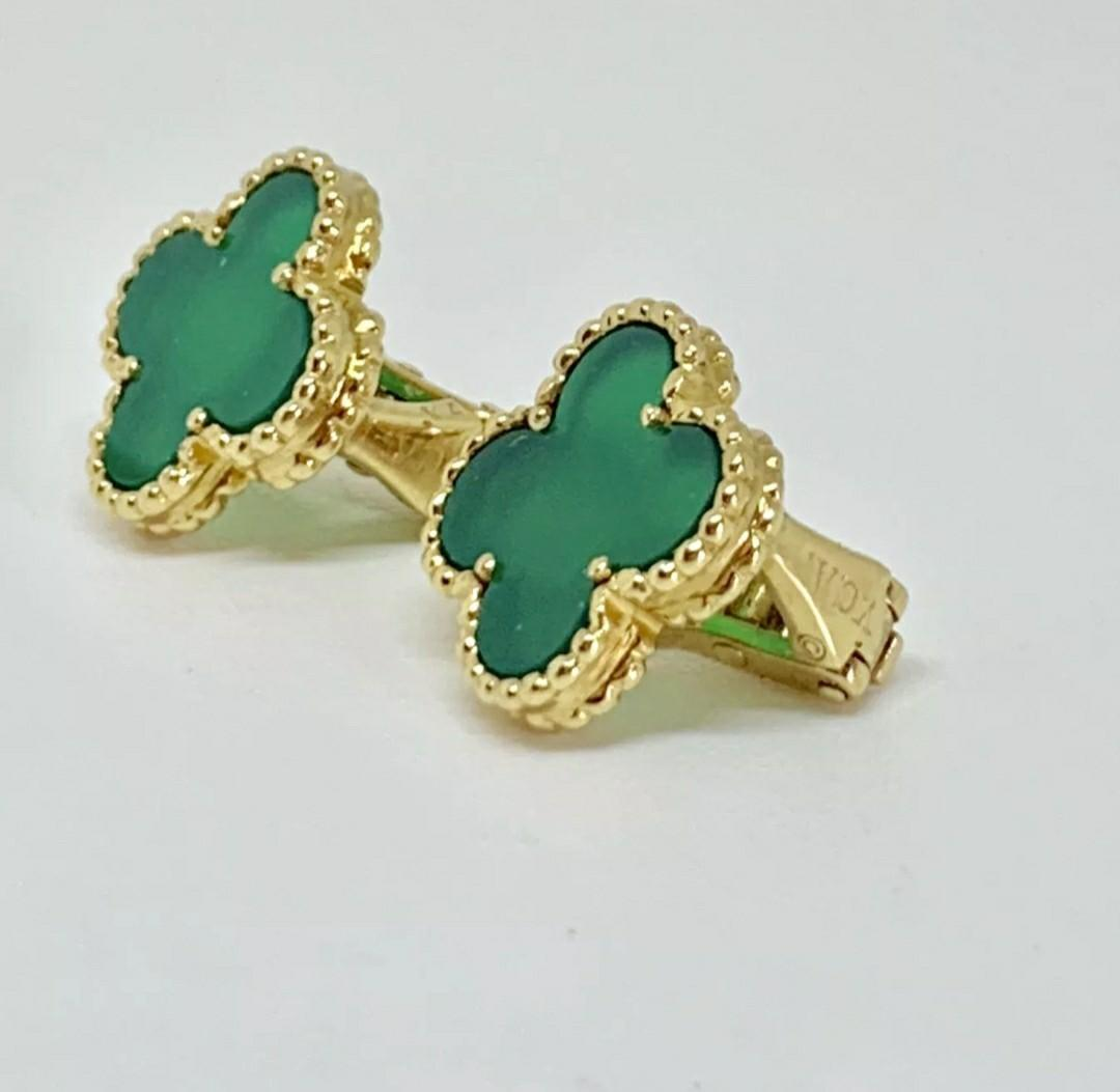 Authentic Van Cleef & Arpels 18K Yellow Gold Vintage Alhambra Chrysoprase Earrings