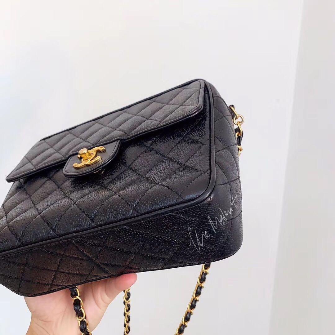 Authentic Vintage Chanel Camera Bag Black Caviar Leather Gold Hardware