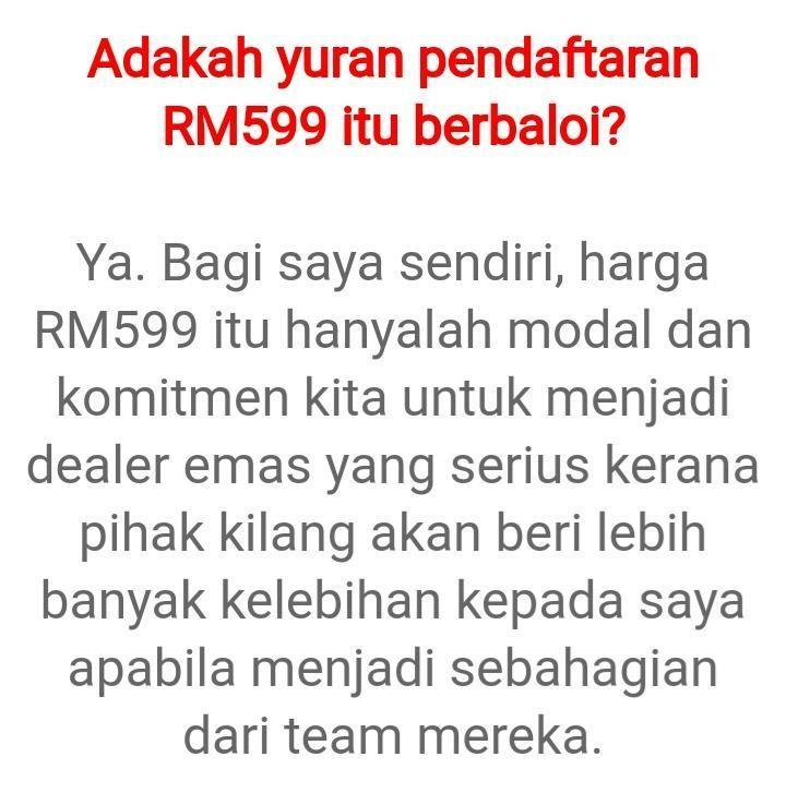 BELI EMAS HARGA KILANG, PENDAFTARAN DEALER EMAS SERENDAH RM599 SAHAJA!