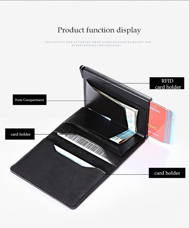 BISI GORO - Black Metal Card Wallet Vintage Card Case ID Credit Card Holder With RFID Automatic Money Cash Clip Business Card Case