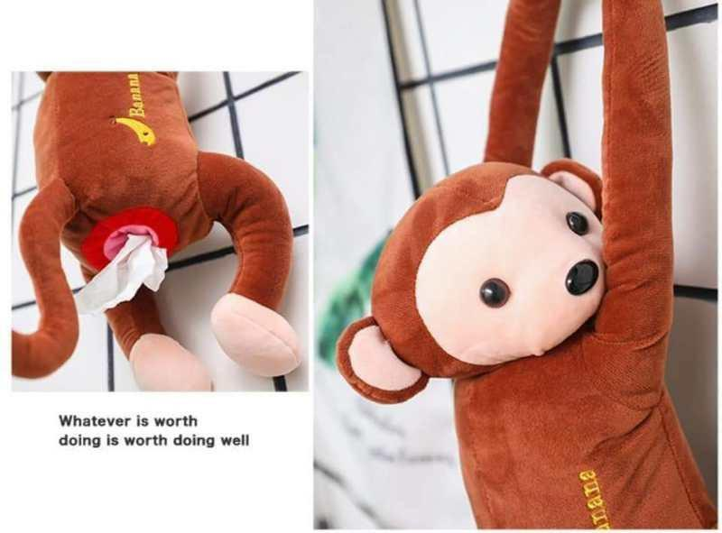 Creative Portable Monkey Toy Tissue Box 皮皮猴创意家用纸巾盒客餐厅茶几抽纸盒家居多功能可爱车载纸巾抽