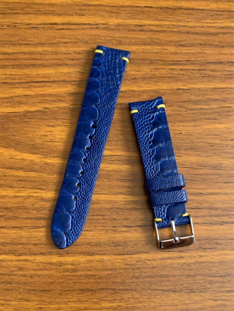 20mm/18mm Authentic Royal Blue Ostrich Leg Watch Strap (last piece in Royal blue -one piece once sold no more👌🏻) Standard Length- L:120mm S:75mm