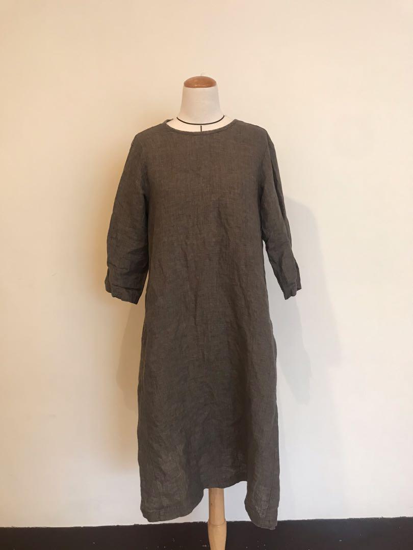 Muji無印良品法國亞麻洋裝/附口袋