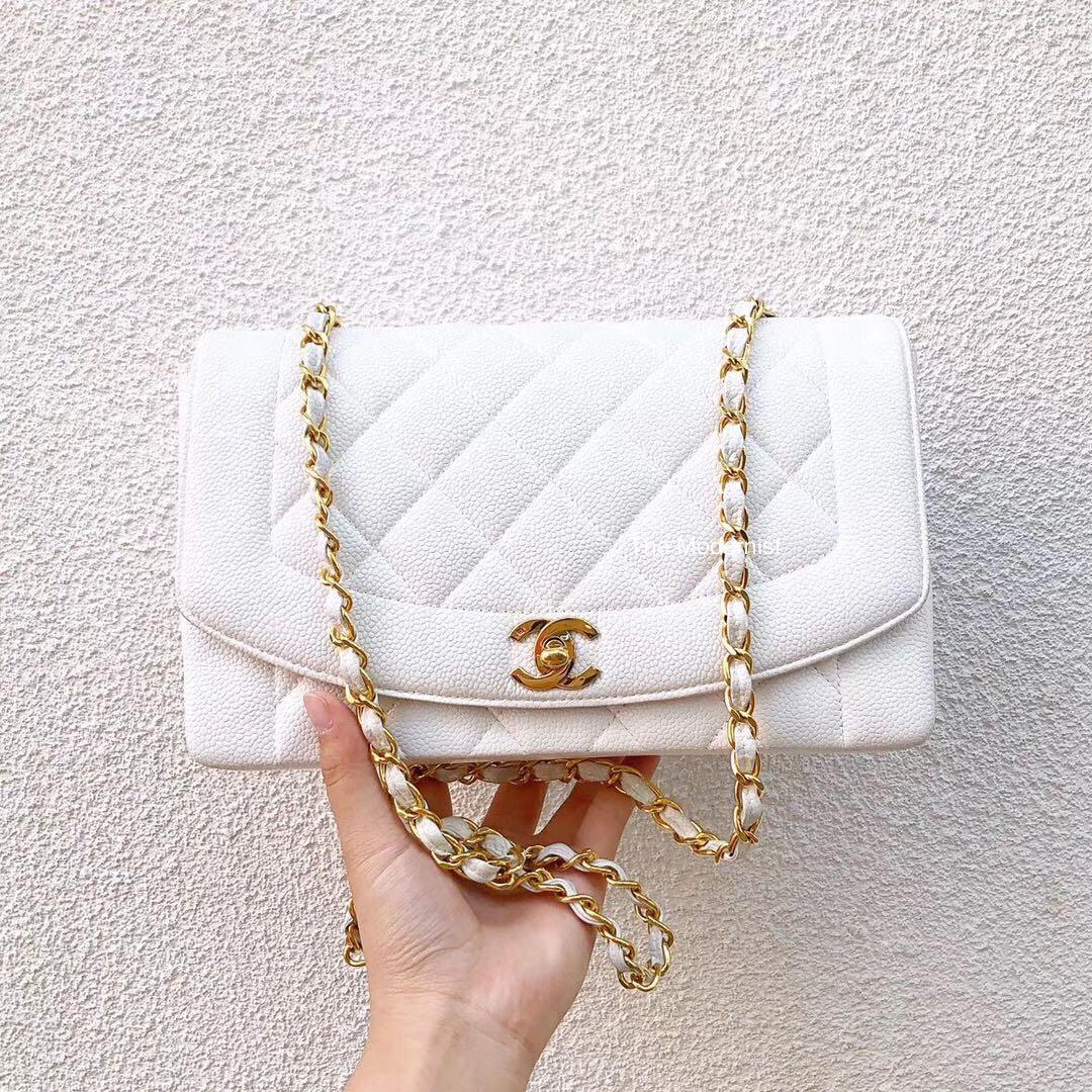 Rare! Authentic Chanel Medium Diana Bag White Caviar Leather Gold Hardware