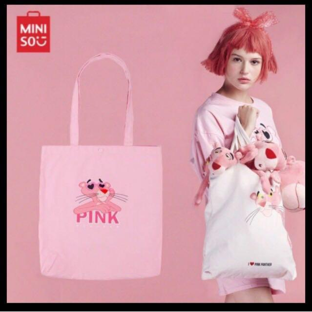 Ready Stock Pink Panther Miniso Travel Set 🎁Free🎁 Crystal Cushion Powder Puff & Miniso Pink Panther Canvas Shopping