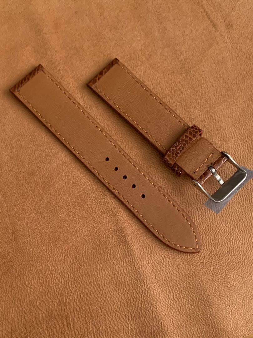 20mm/18mm Cognac Brown Ostrich Leg Watch Strap (flat unpadded strap, suitable for thin watch eg Cellini Datejust DayDate or any 20mm lug width watch u like) - 20mm@lug/18mm@buckle (only piece !! 👍🏻) (Check out our others -can search 'thin unpadded')