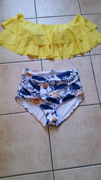 Two-piece yellow off-shoulder/ high waist bathing suit -L *NEW*