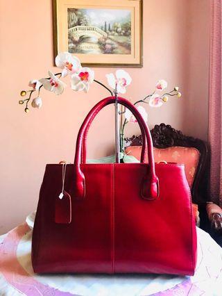 Brandnew Cherry Red Leather Structured Satchel 2-way Handbag (Semi-Large)