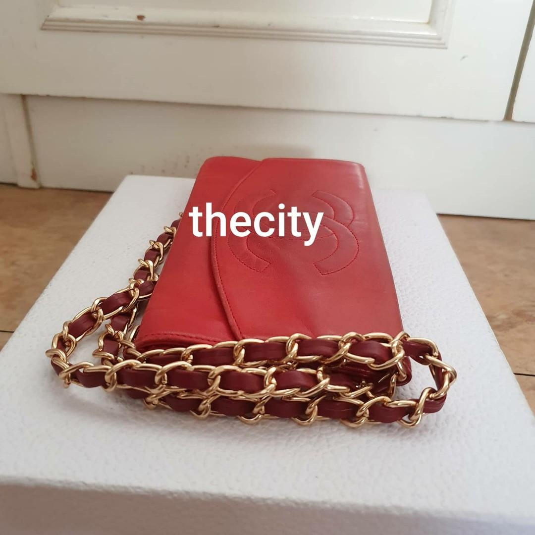 AUTHENTIC CHANEL RED LAMBSKIN LEATHER LONG ORGANIZER POUCH / WALLET - BIG CC LOGO DESIGN- CLEAN INTERIOR- HOLOGRAM STICKER INTACT- COMES WITH EXTRA ADD  STRAP