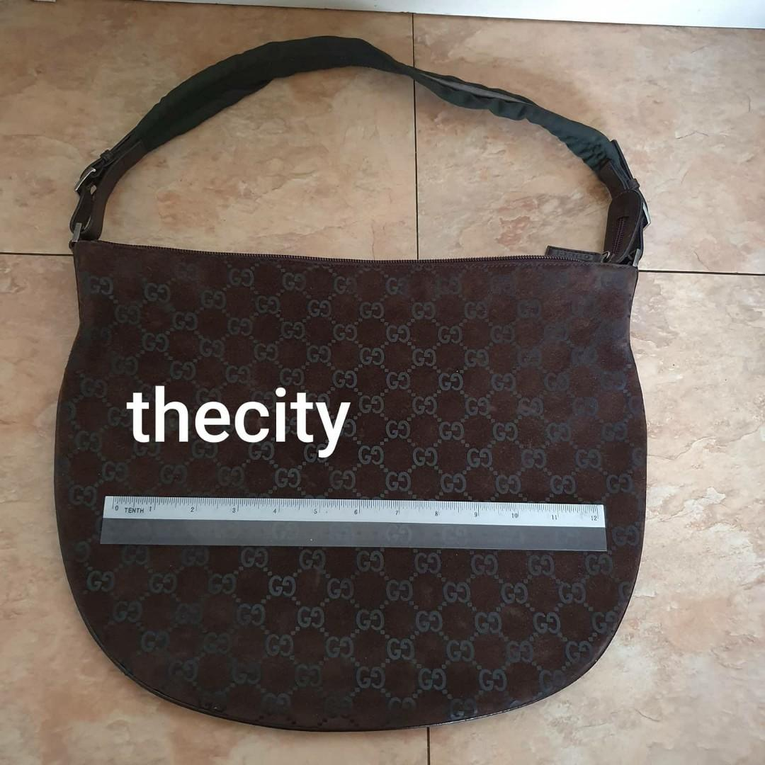AUTHENTIC GUCCI SUEDE LEATHER- GG MONOGRAM LOGO SHOULDER BAG- BROWN COLOR - CLEAN INTERIOR - (BOUGHT AROUND RM 5000+)
