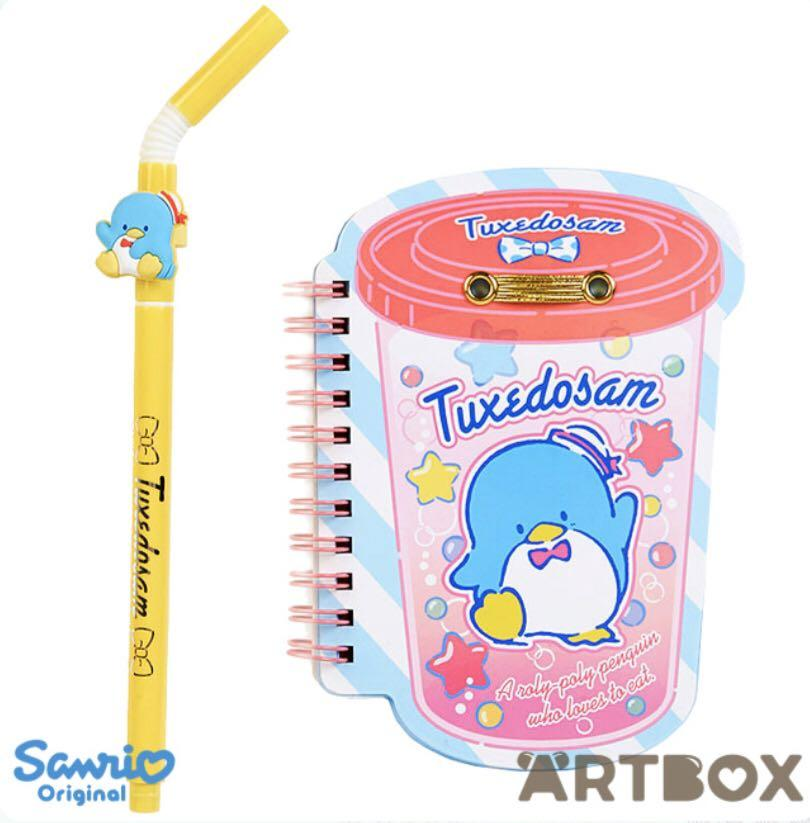 Brand New Auth Sanrio Tuxedo Sam Drink-Style Notebook and Straw Pen Set