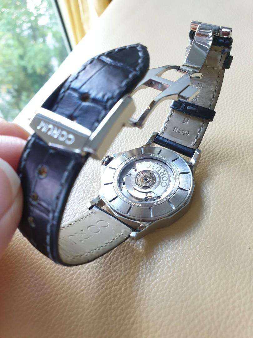 Corum Mens Grey Silver Dial Black Leather Strap Automatic 42mm                                                            Rolex Tudor Cartier Omega Iwc AP Chopard Tag Heuer