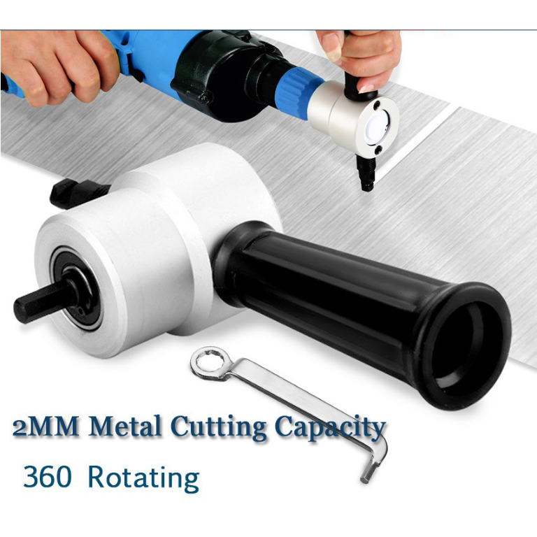 Double Head Sheet Nibbler Metal Cutter Hole Saw Drill Attachment Hand Tool Free Cutting Tool