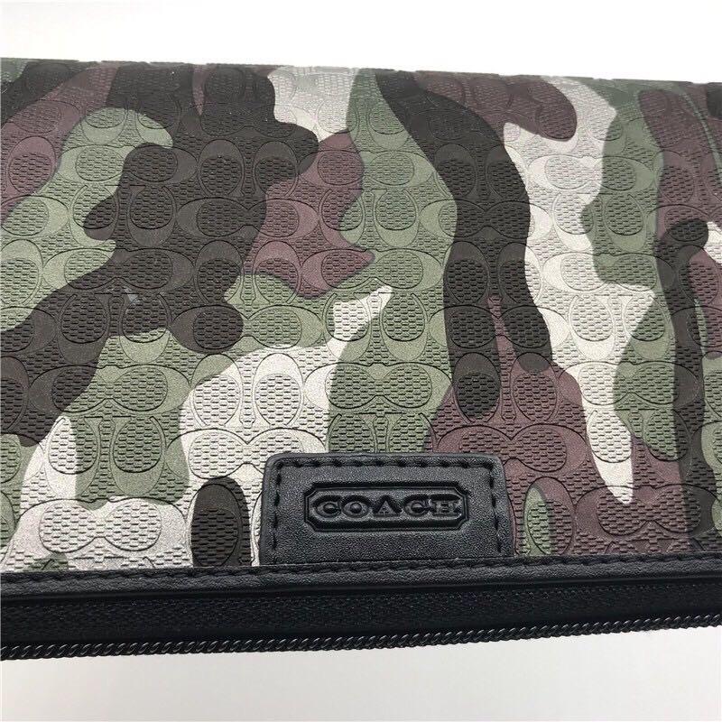 Flash Sale COACH F74546 classic camouflage men's long zipper wallet + Box Male Purse Pouch