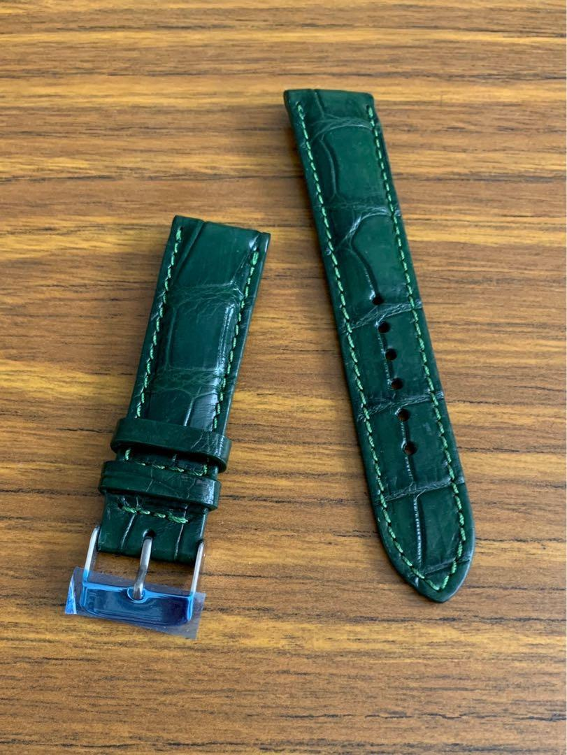 20mm/18mm Authentic British Racing Green Alligator 🐊 Crocodile Watch Strap  (full of character, last piece in green!!  -once sold no more🙏🏻😊) Standard Length- L:120mm S:75mm
