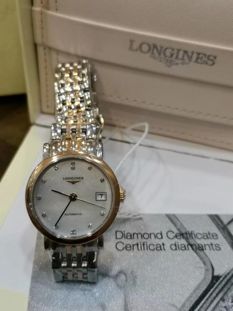 LONGINES ELEGANCE LADIES AUTOMATIC 25.5MM ROSE GOLD PLATED STEEL YEAR 2016 FULL SET