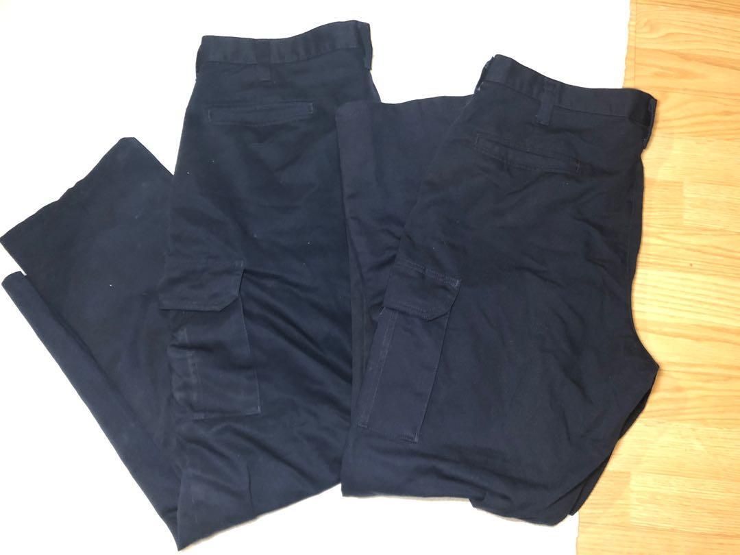 Men's navy blue cargo khaki pants size 36x32 (2 pairs)