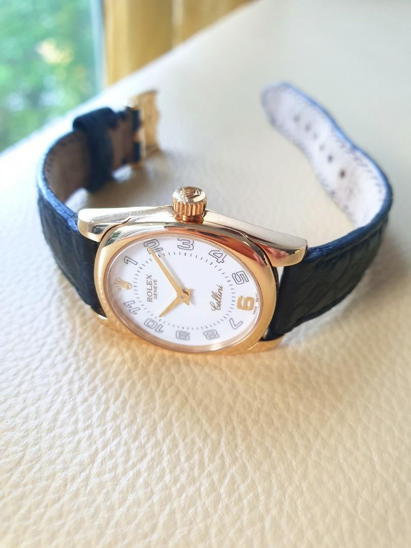Rolex Cellini 18K Gold Ladies Black Leather Strap Quartz 6229.      Tudor Cartier Omega Chopard Iwc AP
