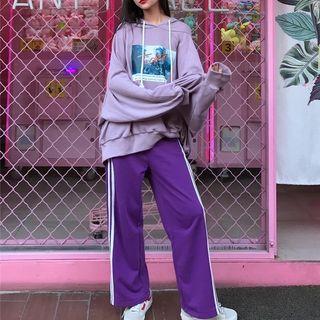 紫色大學T&寬褲