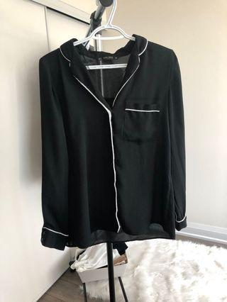 Zara Black Blouse with White Piping