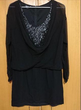 iRoo氣質閃亮黑色洋裝