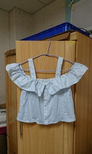 西班牙 ZARA TRAFALUC 藍白條紋異材質拼接襯衫布質料荷葉邊拼接棉質衣體平口細肩短版上衣