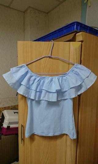 瑞典 H&M 異材質拼接襯衫布質料拼接棉質衣體荷葉邊平口上衣