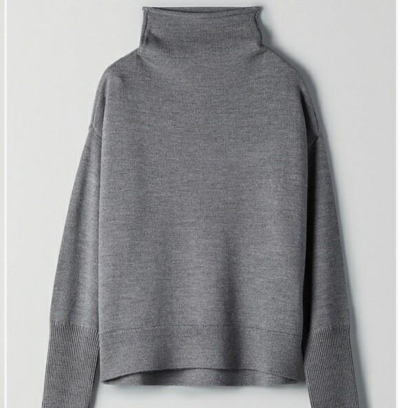 Aritzia Wilfred Cyprie Sweater - Heather Dark Grey - S